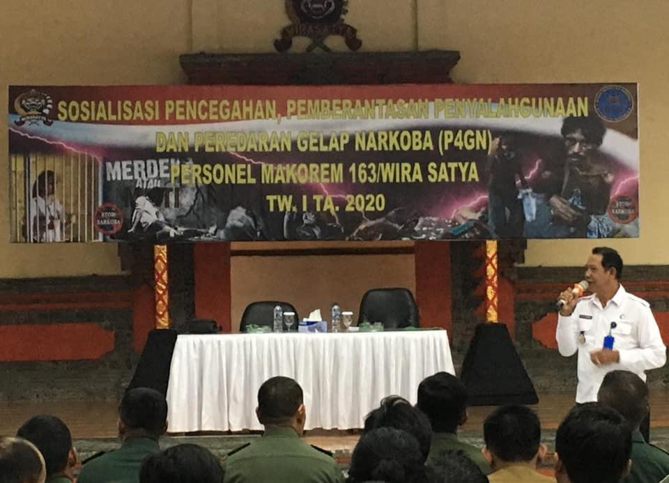 Sosialisasi P4GN kepada Personel Makorem 163/Wira Satya