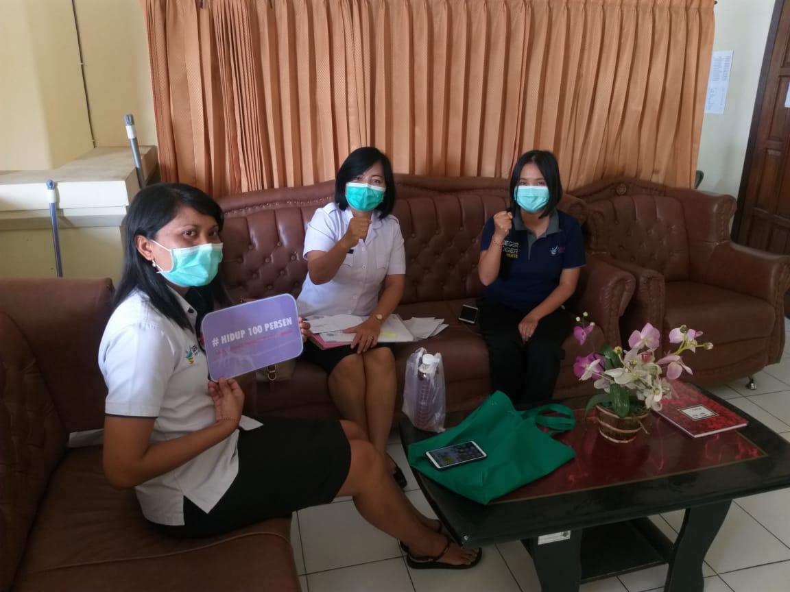 Edukasi P4GN dan #hidup100persen kepada tim PTM (pencegahan penyakit tidak menular) dikes tabanan sekaligus sebagai BNK Tabanan