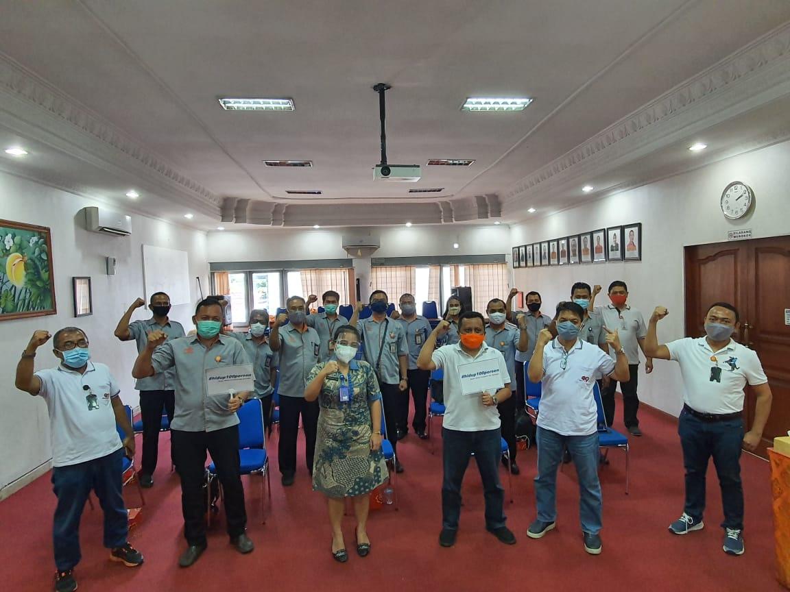 Sosialisasi P4GN dan Kampanye tagar #hidup100persen dengan Media Tatap Muka bagi para Pejabat PT.Pos Indonesia (Persero) Kanwil Regional 8 se-Bali