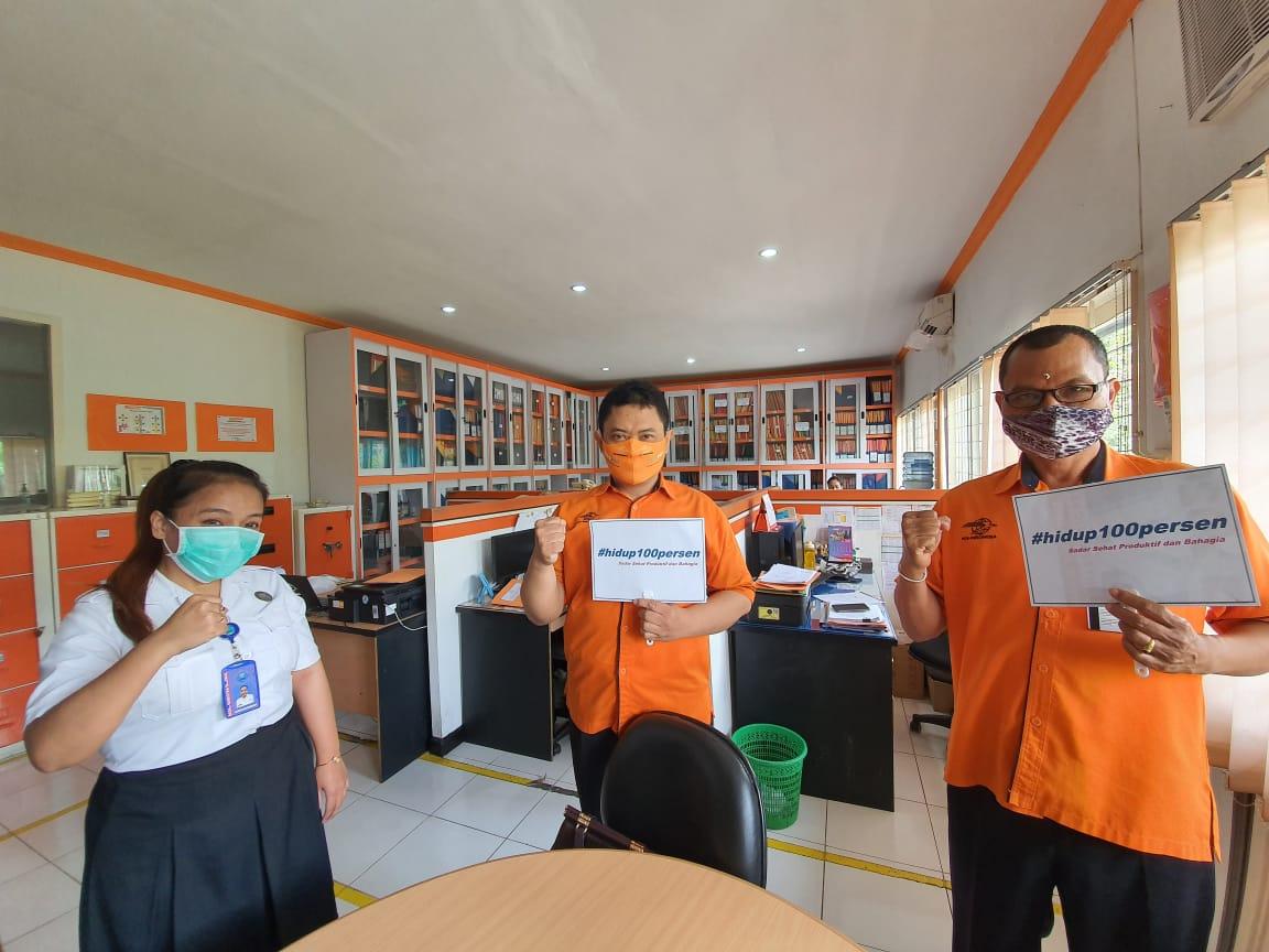 KIE P4GN dan tagar #hidup100persen dengan Media Tatap Muka dalam rangka persiapan Kegiatan Pemeriksaan Test Urine Narkotika bagi para Pejabat PT.POS Indonesia Kanwil Regional 8 Bali