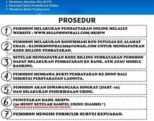 Prosedur Standar Pelayanan Surat Keterangan Hasil Pemeriksaan Narkotika