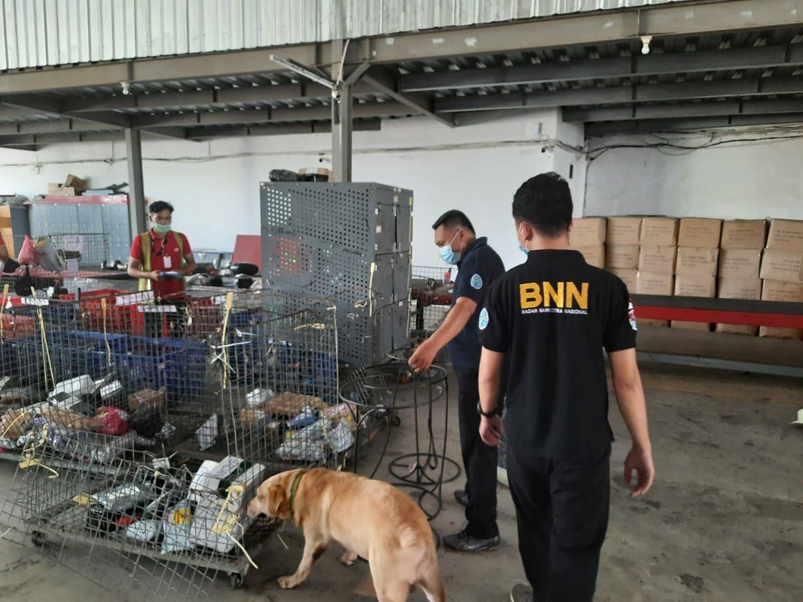Penyisiran Narkotika Unit Deteksi K-9 BNN Provinsi Bali